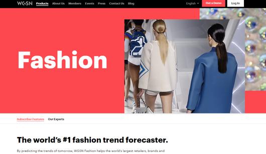Homepage WGSN screenshot
