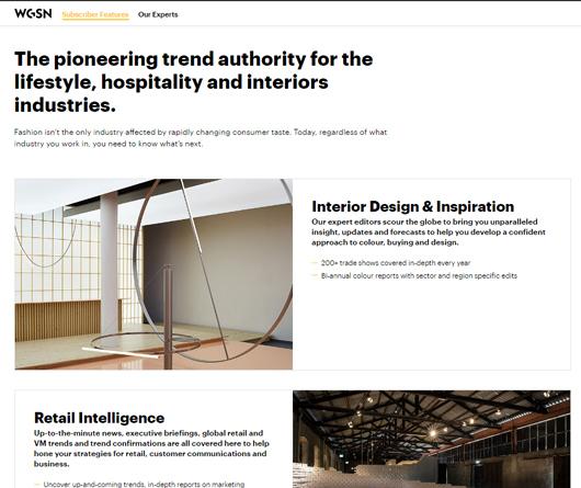 Screenshot WGSN Interior Retail Design